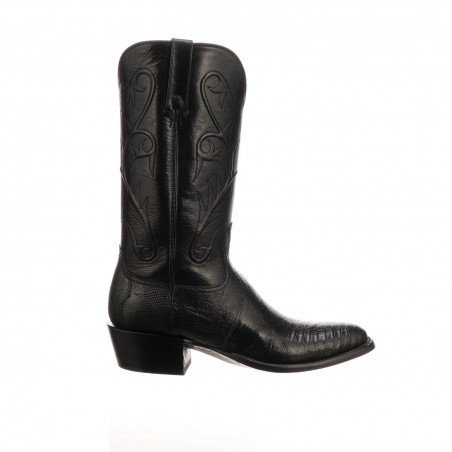 Cowboy Boots - Genuine Lizard Leather Black R Toe Men - Lucchese Boots