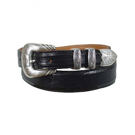 Belt - Genuine Lizard Leather Black Unisex - Lucchese