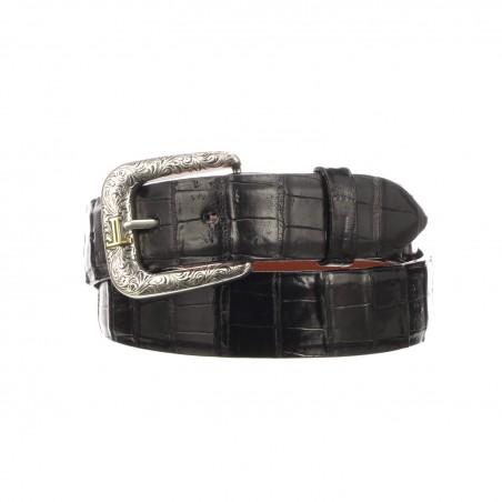 Belt - Genuine Caiman Leather Black Unisex - Lucchese