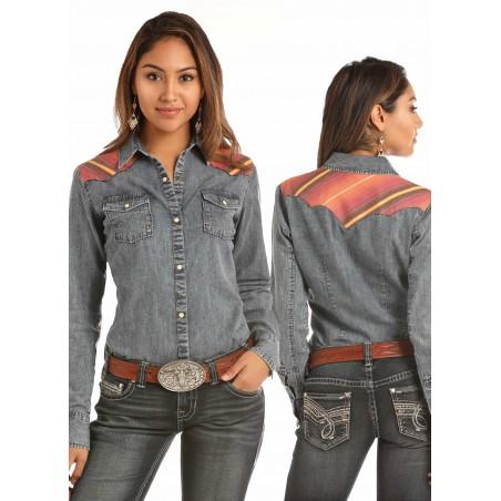 Vintage Western Shirt - Bleach Washed Denim Serape Women - Rock&Roll Cowgirl