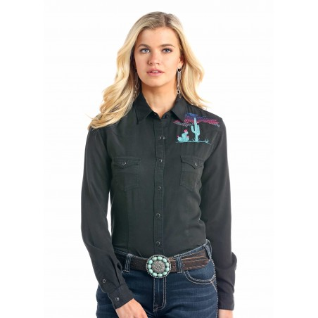 Western Shirt - Tencel Solid Black Cactus Embroidery Women - Panhandle