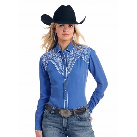 Vintage Western Shirt - Tencel Solid Blue Embroidery Women - Panhandle