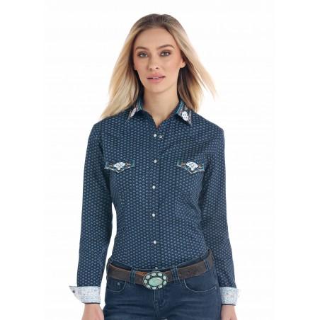 Western Shirt - Blue Lovall Vintage Print Women - Panhandle