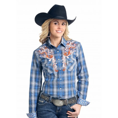 Western Shirt - Blue Plaid Holbrook Vintage Ombre Women - Panhandle