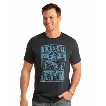 T-shirt - Navy Rock&Roll Rodeo Tour Men - Rock&Roll Cowboy