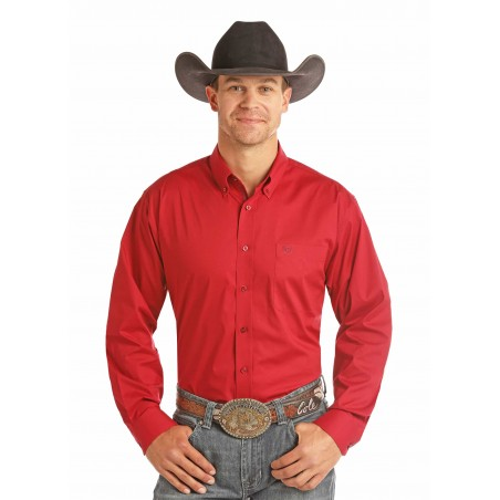 Western Shirt - Red Solid Stretch Men - Panhandle