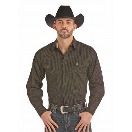 Western Shirt - Black Poplin Gold Print Men - Panhandle