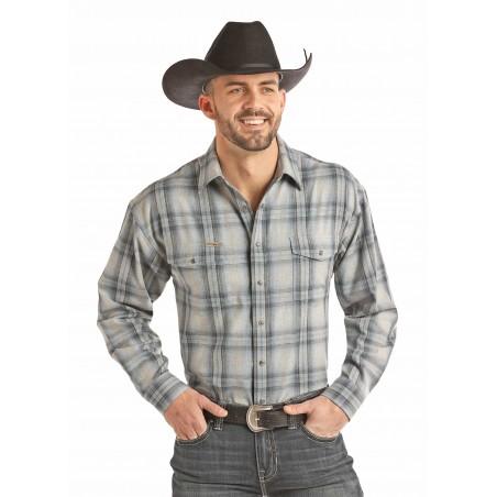 Flannel Shirt - Plaid Grey Brushed Twill Heather Men - Powder River