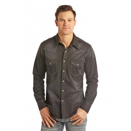 Western Shirt - Black Solid Vintage Men - Rock&Roll Cowboy