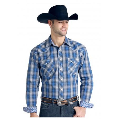 Western Shirt - Blue Grey Plaid Holbrook Vintage Ombre Men - Panhandle