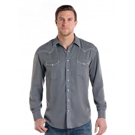 Western Shirt - Tencel Solid Grey Escalante Men - Panhandle