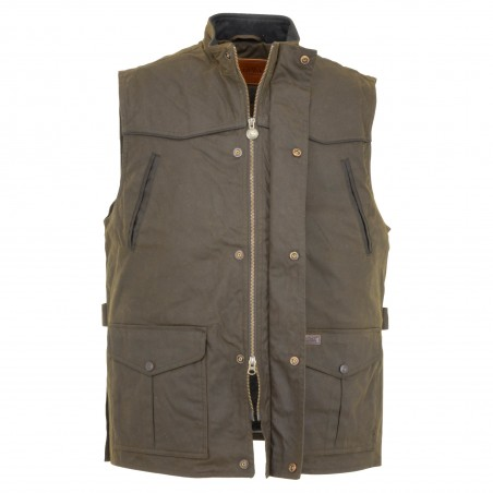 Magnum Vest - Cotton Oilskin Brown Waterproof Men - Outback